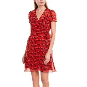 Anna Sui Silk Heart Print Wrap Dress Overlay